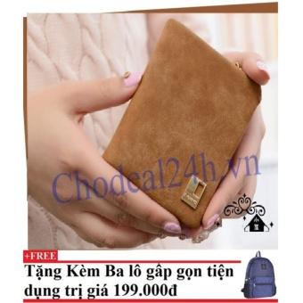 Ví cầm tay vuông nhỏ nhắn cho nữ CDVN02 (cam) + Tặng kèm balo du lịch gấp gọn
