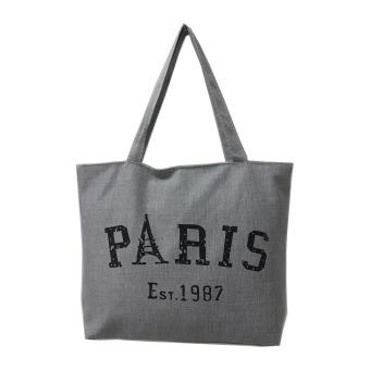 Túi Vải Tote Họa Tiết Paris Chử Xám Xinh Store