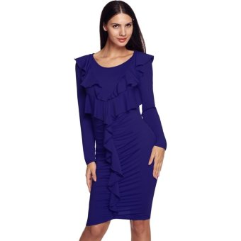 Sunweb Finejo Women Fashion O-Neck Long Sleeve Patchwork Ruffles Draped Bodycon Stretch Dress ( Blue ) - intl