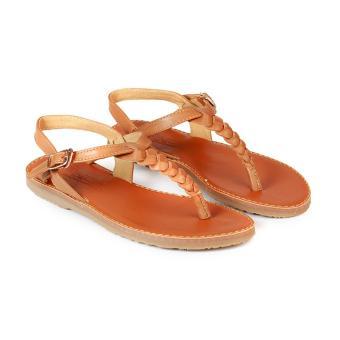 Giày Xăng Đan Nữ Xỏ Ngón Đế Bằng HC1382 (Nâu)