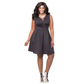 V-neck Slim Over Sizes Woman Dress(Dark Gray) - Intl