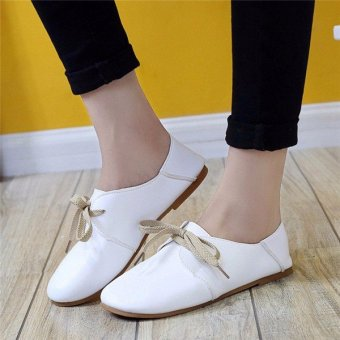 Fashion Women Flats Shoes Lace Up Comfort Shoes Casual Leather Oxfords Loafers White - intl
