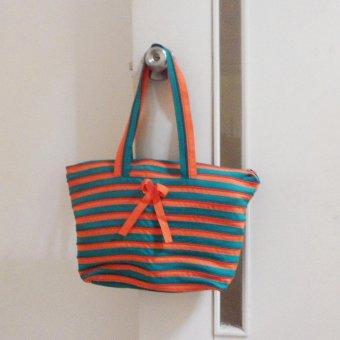 Túi xách dây kéo nữ thời trang (Cam - xanh lá)