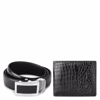 Bộ ví và thắt lưng da bò thật Laka màu đen dập vân cá sấu