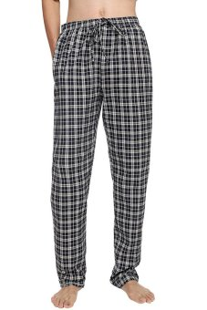 Cyber Avidlove Men Male Multicolor Plaid Sleepwear Lounge Pajamas Pants Trousers ( Blue )