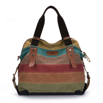 Retro Men Women Canvas Handbag Color Block Striped Shoulder Bag Crossbody Messenger Bag Tote (Intl)