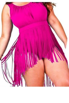Sunweb Plus Size Vest Tassels Tank Top (Rose Red) - intl