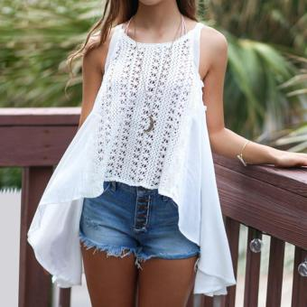 Gamiss Sexy Lace Design Top Woman Loose Version Sleeveless (White) - intl