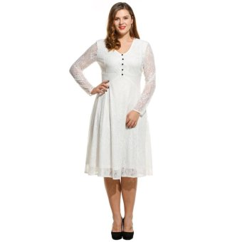 Linemart Women V-Neck Button Long Sleeve Evening Party Lace Pleated Midi Dress Plus Size ( White ) - intl