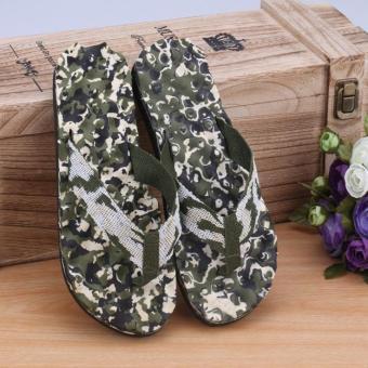 Men Summer Camouflage Flip Flops Shoes Sandals Slipper indoor & outdoor Flip-flops Green - intl