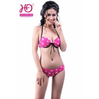 Bikini cạp thấp ngôi sao hồng viền đen 17031
