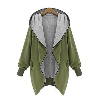 New Fashion Large Size Women Casual Loose Jacket Hooded Zipper Cardigan Coat - intl