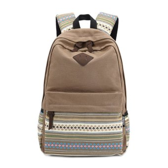 Unisex Canvas Backpack Rucksack School Satchel Hiking Bag Bookbag Khaki - Intl