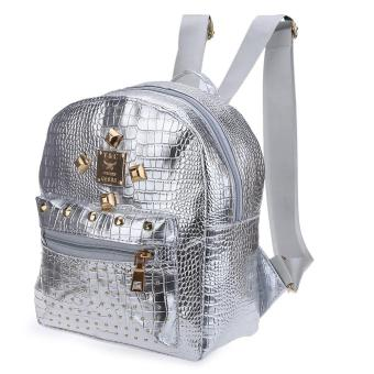 Crocodile Rivet Bright Ladder Lock Zipper Portable Backpack for Women - intl