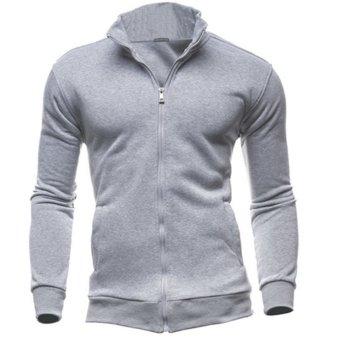 Men Warm Zipper Casual Outwear (Light Gray) - intl