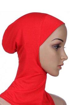 Bluelans Muslim Full Cover Inner Hijab Cap Islamic Underscarf Neck Head Bonnet Hat Red (Intl)