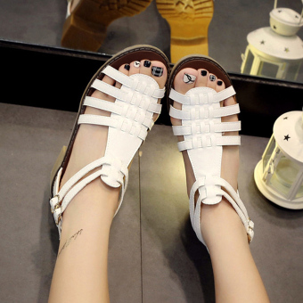 Women's Fashion Sandals With Knitted Design Roman Style(White) - intl