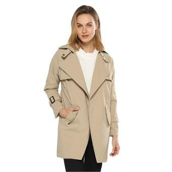 Trendy Turn Down Collar Pure Color Trench Coat for Women - intl.