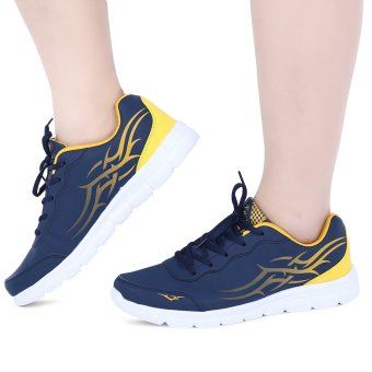 Stylish Color Block Lace Up Male Breathable Sports Shoes(Yellow) - intl