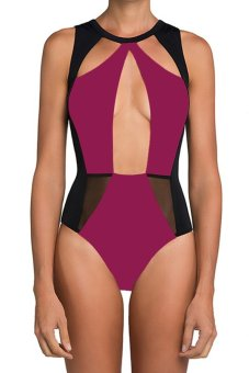 Cyber Stylish Lady Women's Fashion Sexy One Piece Swimwear Backless Patchwork Slim Beach Wear (Red) - Intl