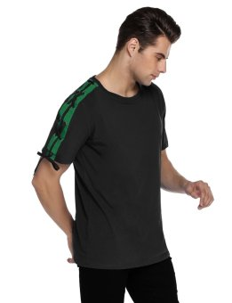 Cyber Mens Casual O-Neck Short Sleeve Bandage Drawstring Basic T-Shirt ( Black ) - intl