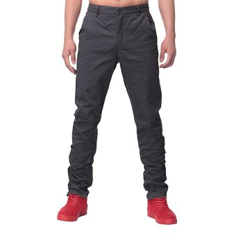 Mens Slim Skinny Stretch Pencil Jeans Long Casual Pants Trousers (Dark Grey) - intl