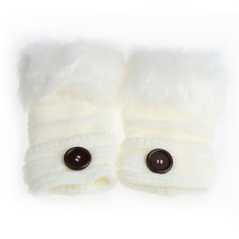 Women Warm Winter Faux Rabbit Fur Wrist Fingerless Gloves Mittens White - Intl