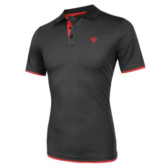 Cyber COOFANDY Men Fashion Casual Turn Down Collar Short Sleeve Slim Fit Contrast Color Polo Shirt T Shirt Tops - Intl