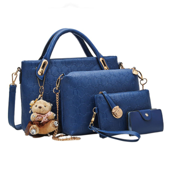 niceEshop Women Tote Shoulder Bag Pu Leather Handbag Set (Blue) - Intl