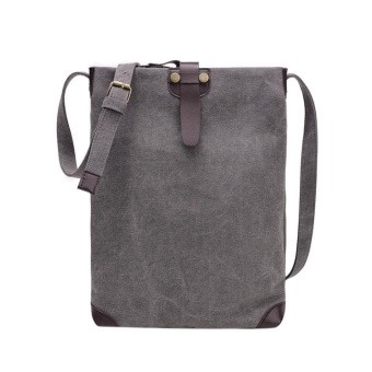 Women Canvas Travel Shoulder Backpack(Dark gray) - intl