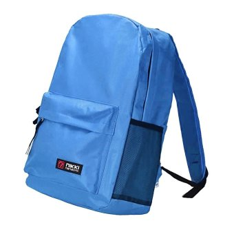 Neutral Canvas Rucksack Backpack School Book Shoulder Bag Sky Blue - intl