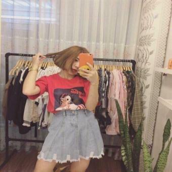 Áo thun nữ Hàn Quốc tay lỡ cổ tròn thun cotton