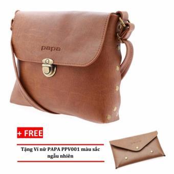 Túi đeo chéo nữ PAPA PPT003 (Bò Nhạt) + Ví nữ PAPA PPV001