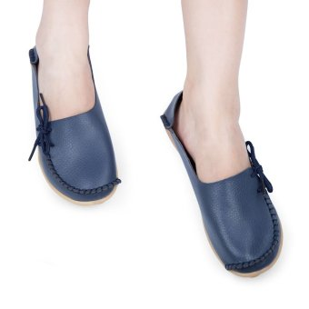 Casual Female Genuine Leather Slip On Flats(Deep Blue) - intl