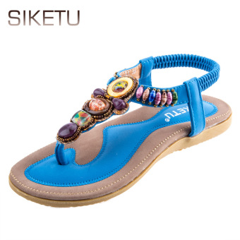 SIKETU Bohemia Beads Elastic Band Beach Flip-flop Sandals(Blue) - intl