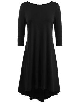 Linemart Women Casual O-Neck Three Quarter Sleeve Solid Back Pleated A-Line Pleated Asymmetrical Hem Elastic Pullover Dress ( Black )(Int:XXL)(OVERSEAS) - intl