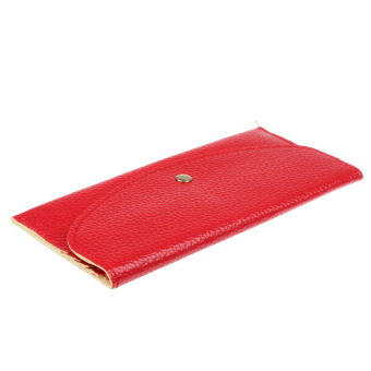 Candy Colors Envelope Slim Design Leather Wallet Red