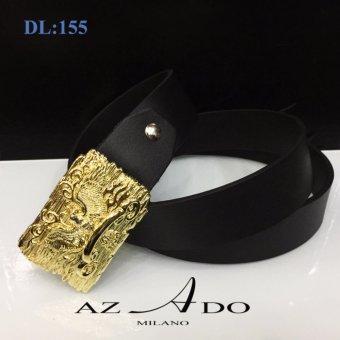 Dây lưng da bò DL:155, thời trang Azado (dây đen mặt vàng)