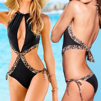 Sexy Padded Bikini Cut-Out One Piece Leopard Swimwear - intl