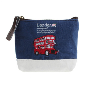 London Bus Embroidered Admission Package Canvas Coin Purse Hand Bag Blue