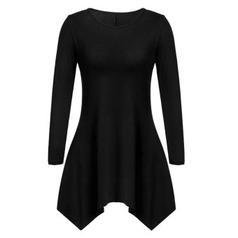 Sunweb Women Fashion Casual Round Neck Long Sleeve Solid Asymmetrical A-Line Short Dress ( Black ) - intl