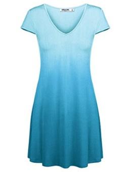 Cyber New Fashion Women Casual Short Sleeve Tie Dye Ombre Loose Pullover T-shirt Dress ( Light Blue ) - intl