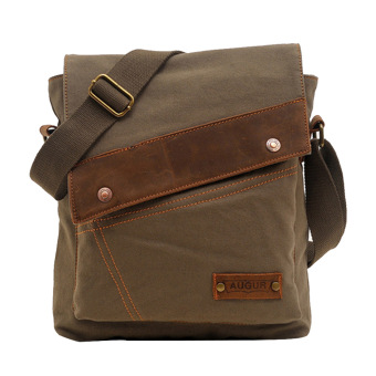 Men Women Canvas Casual Shoulder Bag Crossbody Messager Bag Tablet PC Carry Bag Travel School Bag Army Green
