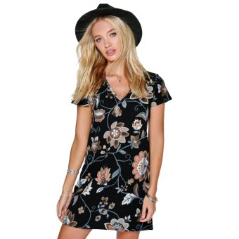 Floral Printing V-neck Short Sleeve Woman Temperament A-line Dress - Intl