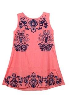 LALANG Floral Crewneck Mini Dresses Pink