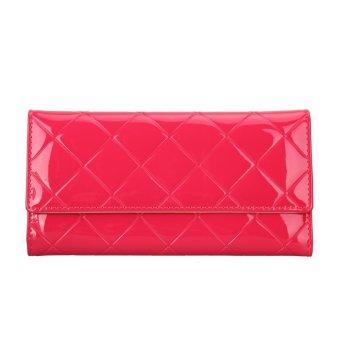 Women PU Long Wallet Lady Purse Card Holder Clutch Handbag (Rose Red) - intl