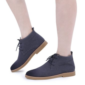 Casual Pure Color Suede Lace Up Male Dunk High Shoes(Gray) - intl