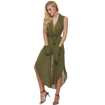 Cyber Zeagoo Women Sleeveless Slit Chiffon Maxi Shirt Dress With Belt ( Amy Green ) - Intl