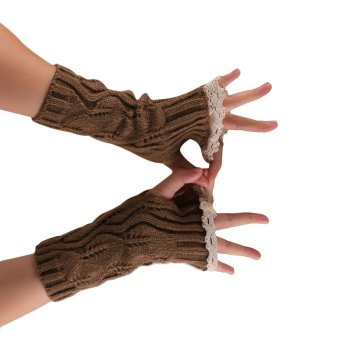 Hollow Out Lace Knitted Gloves Brown (Intl)