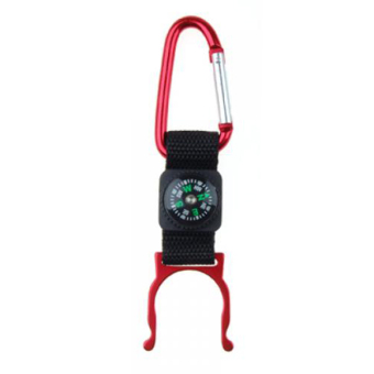 BolehDeals Carabiner Water Bottle Holder Camping Hiking with Compass Red - Intl